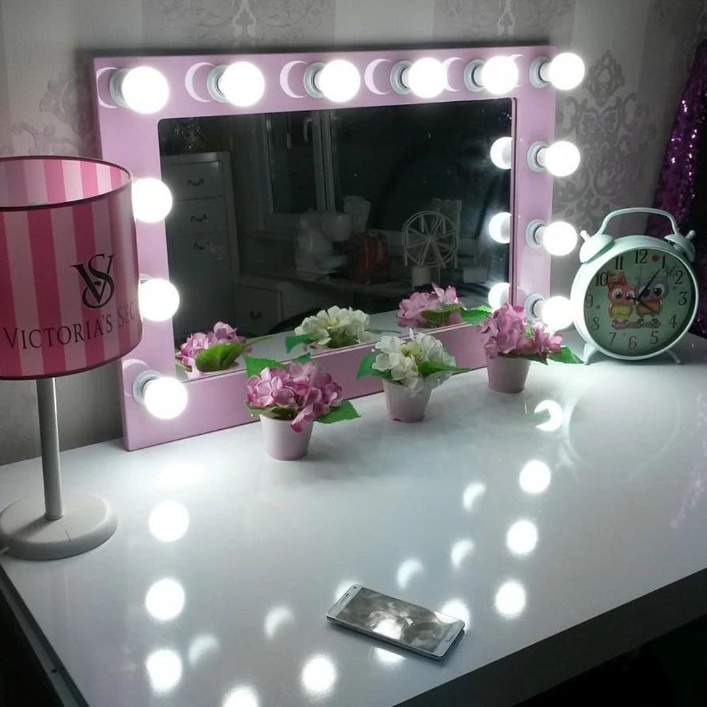 Işıklı Makyaj Aynası Pembe Çerçeveli 12 Işıklı
