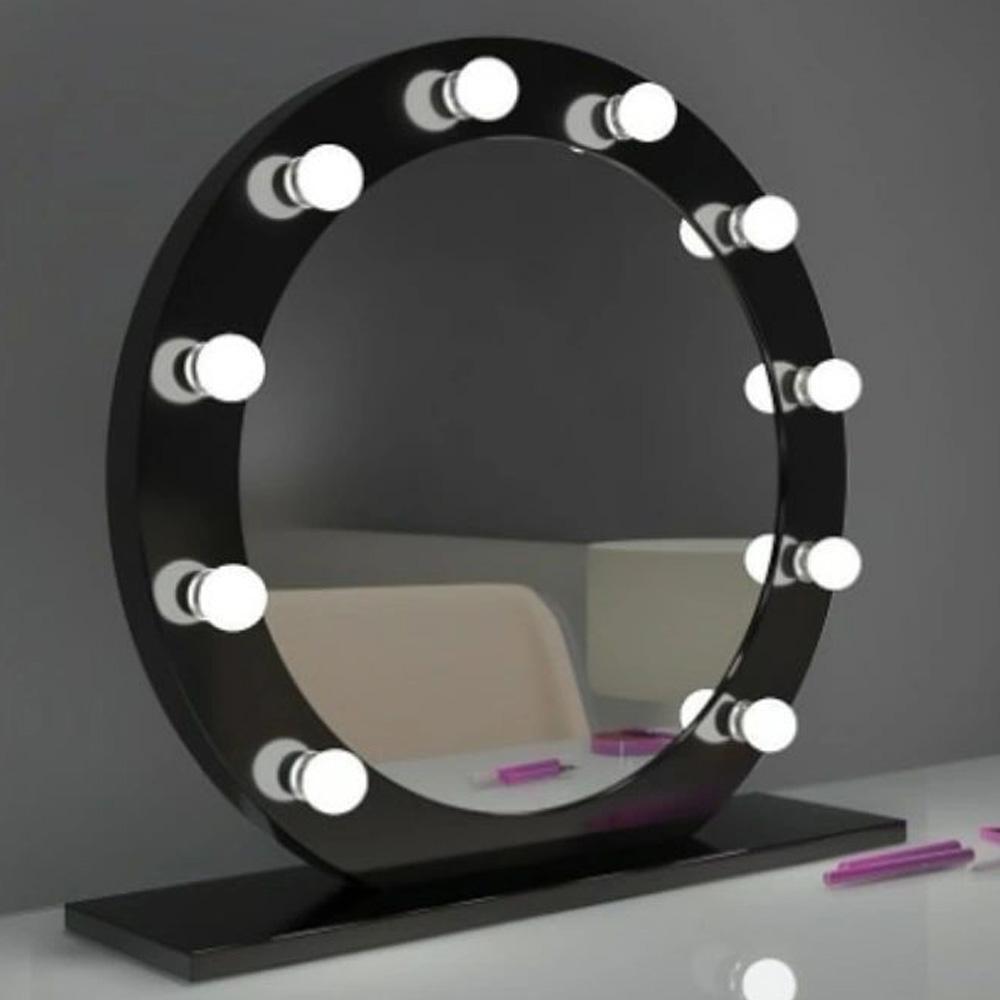 Işıklı Makyaj Aynası 70cm Siyah PVC Yuvarlak